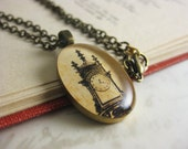 """Vintage Grandfather Clock - Found Illustration jewelry - Resin pendant necklace - 19"""" bronze chain with matching clasps"""