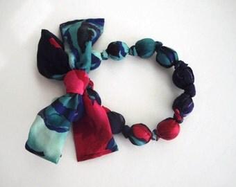 Hot Pink and Blue Silk Fashion Statement Scarf Necklace Handmade by handcraftusa