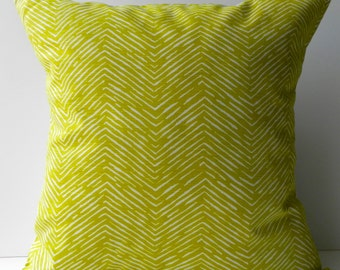 New 18x18 inch Designer Handmade Pillow Case yellow/green chevron pattern.