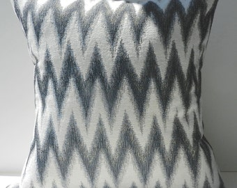 New 18x18 inch Designer Handmade Pillow Cases in blue, warm white, blue, grey and black ikat chevron