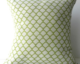 New 18x18 inch Designer Handmade Pillow Case. yellow/green and white tile