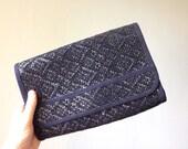 Vintage RAFFIA Purse • 1990s Bag •Woven Straw Handbag Structured Shoulder Bag Navy Blue