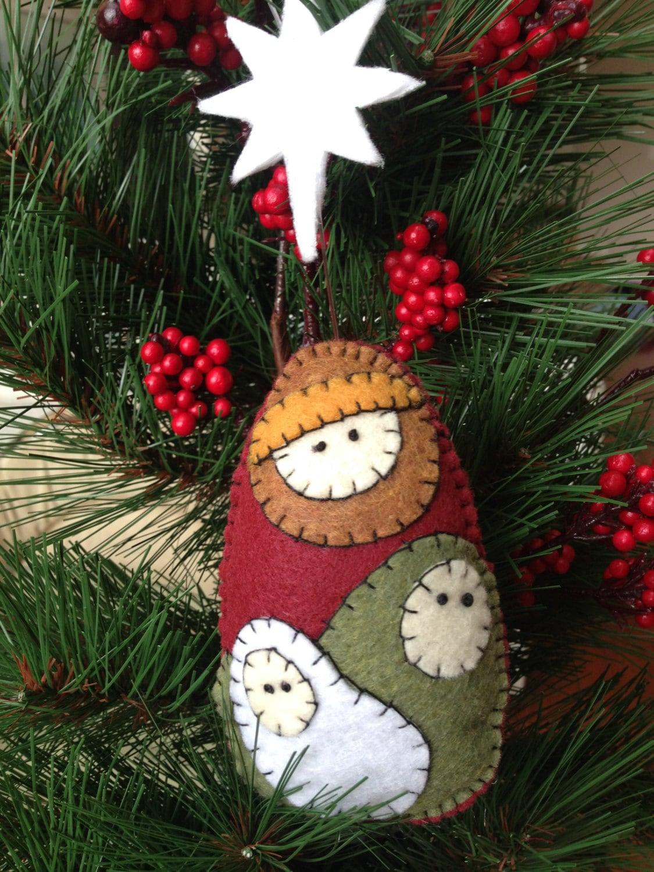 Felt Nativity Christmas Ornament Mary Joseph And Baby Jesus