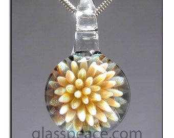 Glass Pendant Sea Anemone Necklace focal boro lampwork- Glass Peace glass jewelry (6154)
