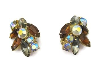 50s 60s Earrings Vintage Rhinestone Brown and Smoke Aurora Clip ons