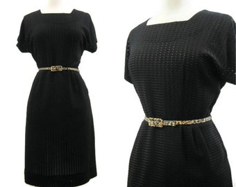 Vintage 40s 50s Dress Sheer Woven Knit Rayon Jersey Summer L XL