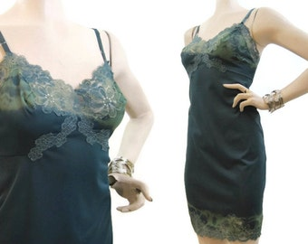 Vintage Slip Hand Dyed Green Blue Nylon and Lace Full Slip 34 mini
