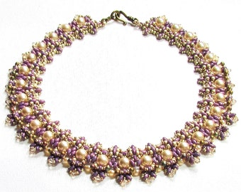ELBA SuperDuo Beadwork Necklace Pdf tutorial instructions for personal use only