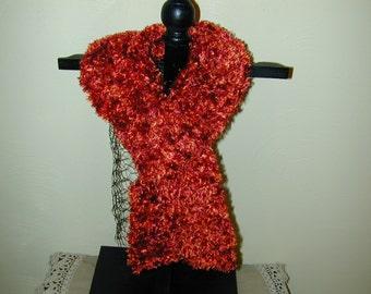 Crochet  Scarf 80 Inches Long Red Eyelash Yarn