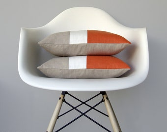 Orange Color Block Cushion Cover with Cream Stripe (Set of 2) by JillianReneDecor - Modern Home Decor - Decorative Pillows