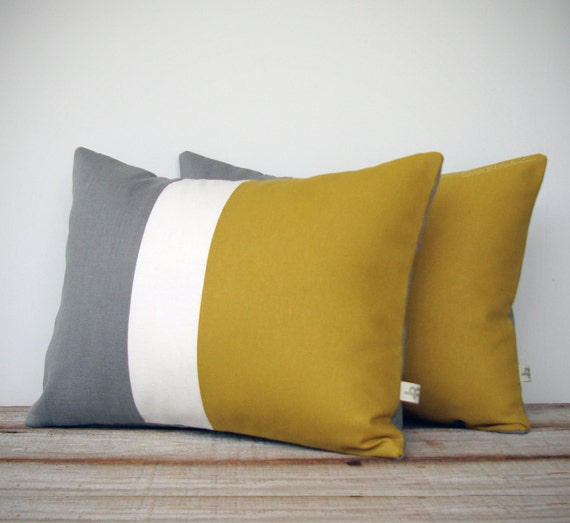items similar to color block stripe pillow in mustard yellow cream and aluminum gray linen set. Black Bedroom Furniture Sets. Home Design Ideas