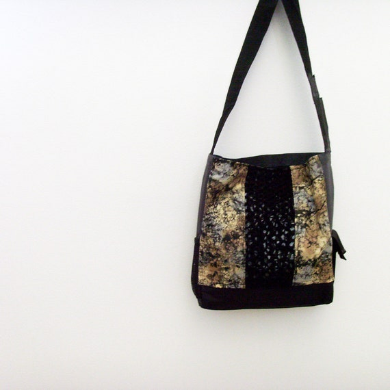 Rugged Tote Bag / Gunmetal Gray - Grey - Black - Bronze Bag / Faux Chainmaille Trim / Exterior Pockets / Vegan / OOAK