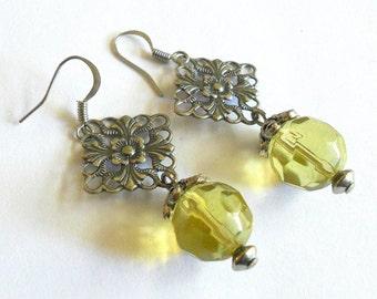 SALE - Bohemian dangle earrings,  Silver and yellow unique drop earrings, funky jewelry