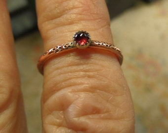 Garnet and Copper Stacker or Ring