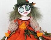 Fantasy Pumpkin Sprite Prunella - Halloween Autumn Art Doll