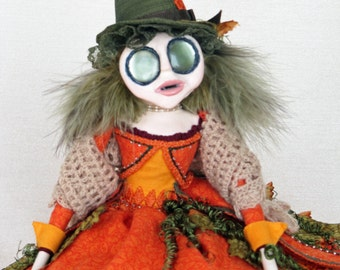 Fantasy Pumpkin Sprite Prunella - Halloween Autumn Art Doll
