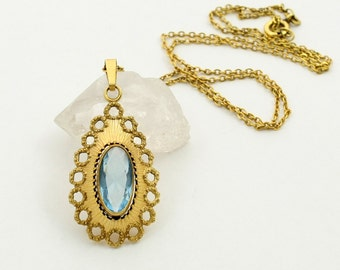 Vintage Rolled Gold Pendant Gold Plated Necklace Chain with Blue Glass Stone Andreas Daub AD Germany Blue Topaz Glass Teardrop Pendant