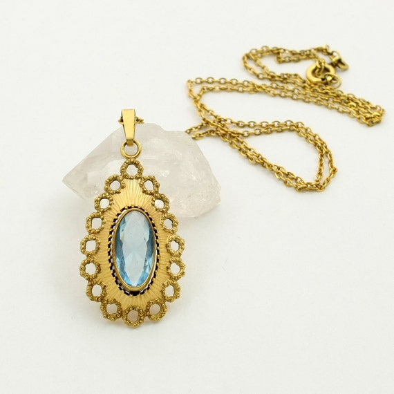 Vintage Andreas Daub Rolled Gold Necklace with Blue Glass Pendant