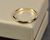 18K Yellow Gold 2x1.5mm Half Round Ring, Smooth Polished Finish, Recycled Gold Wedding Ring, Sea Babe Jewelry