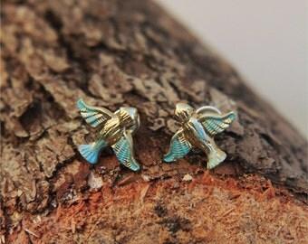 Dainty Gold Bird Studs, Green Patina, jewelry by Stjern Design