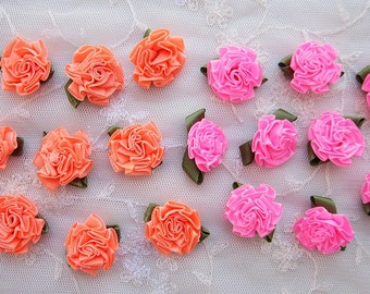 18pc PINK ORANGE Satin Ribbon Fabric Flower Applique Shabby Chic Baby Doll Carnation Cabbage Rose Bow