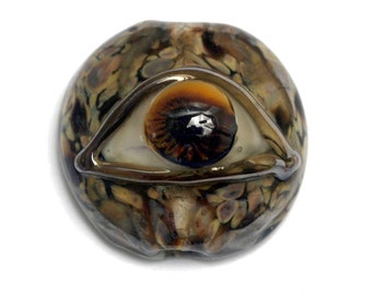 Brown Eyed Lentil Focal Bead 11830402 - Handmade Lampwork Bead