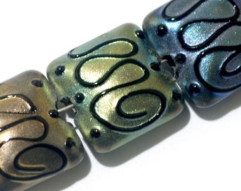 Seven Different Color Pearl Surface Pillow Beads -11204904-Handmade Lampwork Glass