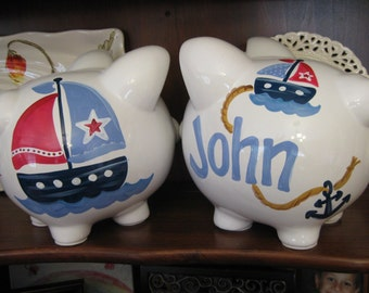 piggy bank hand painted personalized anchors away sailboat