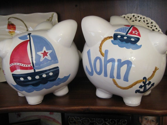 Piggy bank hand painted personalized anchors away sailboat - Nautical piggy banks ...