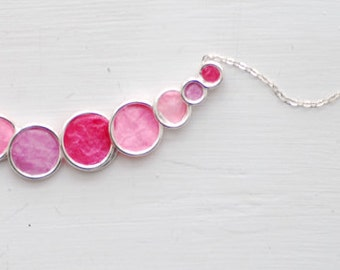 Pastel Pink Necklace, Coral Pink Jewelry, Short Necklace, Sterling Silver
