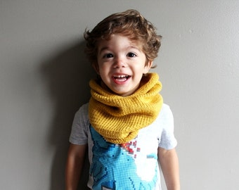 toddler knit cowl in MUSTARD (vegan friendly, hypoallergenic) - 2T/3T