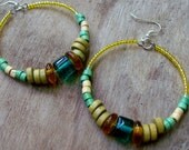 Reserved ECLECTIC - Playful Yellow & Green Bamboo WOOD and African Tribal glass beaded HOOP earrings, Multicolored Bohemian Earrings