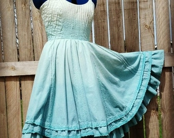 "Sugar River Angel Dress dip dyed cotton 37""-40"" bust ~Lazy Mare Homegrown Original~"