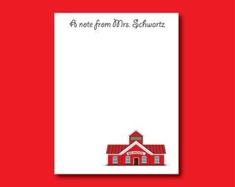 Personalized Teacher Notepad, Schoolhouse Notepad,  Custom Notepad, End of Year Gift, Teacher gift