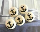 "Handmade Nautical Marine Cream Navy Blue Anchor Covered Fabric Buttons, Nautical Marine Anchor Fridge Magnets, Flat Backs ,1"" 5's"