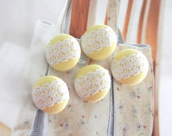 Handmade Small Retro Wedding Yellow White Flower Floral Lace Fabric Covered Buttons, Flat Back Buttons, 0.75 Inches 5's