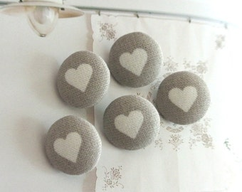 "Fabric Buttons, Small Valentine Gray Grey White Heart Covered Fabric Buttons, Small Buttons, Heart Buttons, Flat Backs, 0.75 "" 5's"