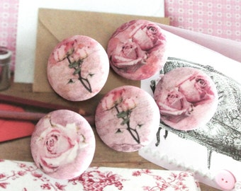 "Handmade Rustic Vintage Style Pink Rose Flower Floral Fabric Covered Buttons, Vintage Style Pink Floral Wedding Fridge Magnets, 1.2 "" 5's"