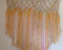 70's Macrame Bead Bohemian Textile Wall Hanging
