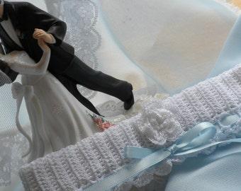 Crocheted Bridal Garter, Wedding Garter, Crocheted Garter, Wedding Accessory, Bridal Accessory, Lacy Bridal Garter, Lacy Wedding Garter