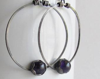 Amethyst Hoop Earrings - February Birthstone Jewelry - February Birthday - Ultraviolet - Pantone 2018