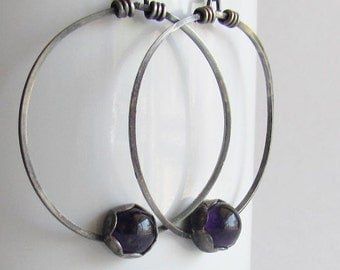 Amethyst Hoop Earrings - February Birthstone - Amethyst Jewelry
