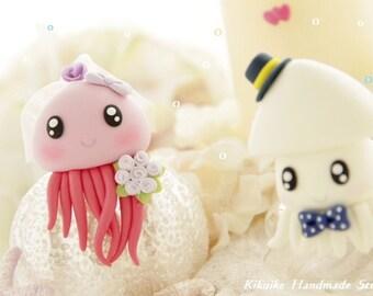 jellyfish ,cuttlefish and  squid wedding cake topper----k630