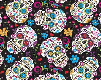 Sugar Skull on Black Fabric By The Yard