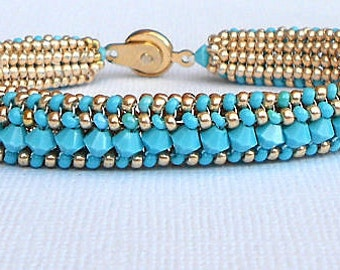 SALE beadwork bracelet turquoise and gold