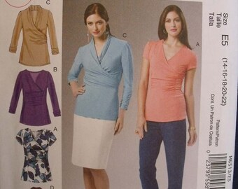 McCalls Pattern 6513 for Misses Pullover Tops in Sizes 14-16-18-20-22 Designed for Moderate Stretch Knit Fabrics