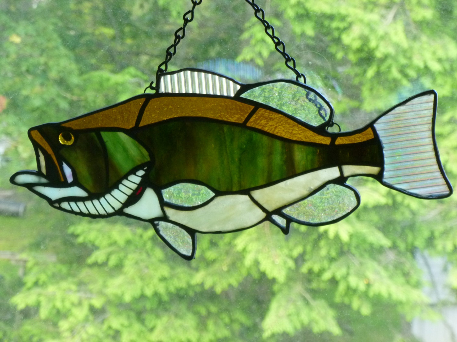 Large mouth bass in browns and greens stained glass great for Stained glass fish