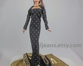 OOAK Black Barbie Evening Dress with  Shrug, Shawl, Belt, Necklace and Earrings