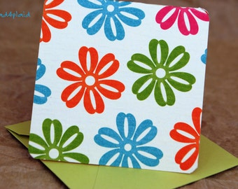 Blank Mini Card Set of 10, Beach Floral Design with Contrasting Polka Dot on the Inside, Metallic Lime Envelopes, mad4plaid