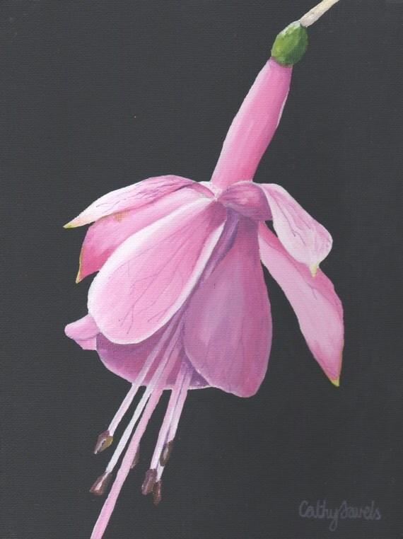 Fuchsia Flower Painting - Original Acrylic Pink Wall Art - Great Gift